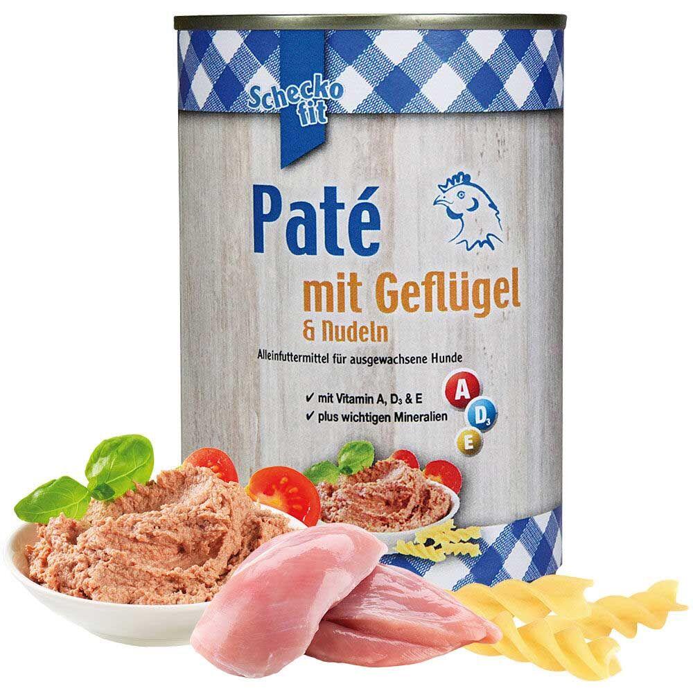 Schecko fit Paté mit Geflügel & Nudeln, Pastete für Hunde 12 x 400 g