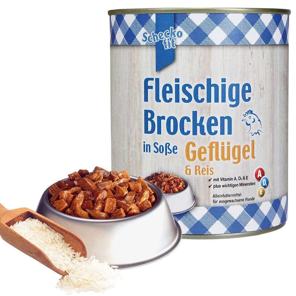 Schecko fit Fleischige Brocken in Soße, Geflügel & Reis, 6 x 800 g