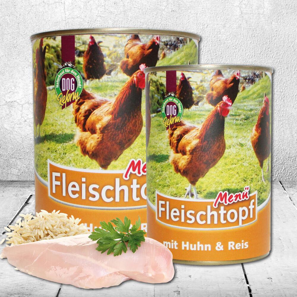 Schecker DOGREFORM Fleischtopf-Menü mit Huhn & Reis, Hundefutter, Nassfutter, Dosenfutter 12 x 410g