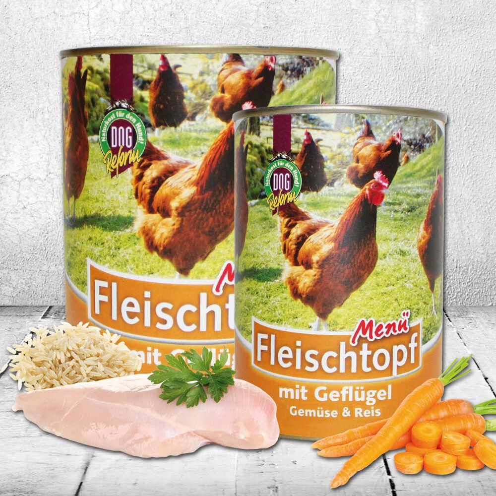 Schecker DOGREFORM Fleischtopf-Menü Geflügel, Gemüse & Reis, 6 x 820 g