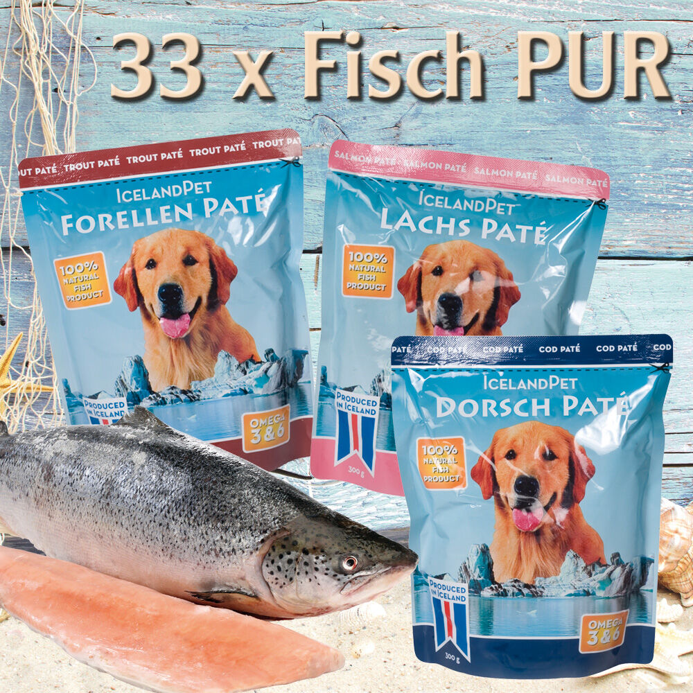 Fisch PUR, 33x 300 g, je 11 x Dorsch, Lachs, Forelle
