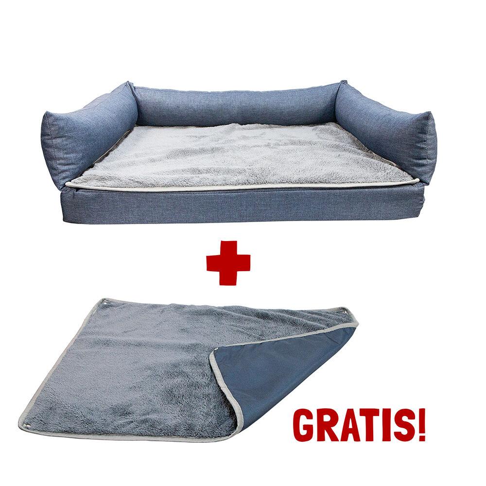 Hundebett Friesland blau-meliert, Größe: 70x55 cm