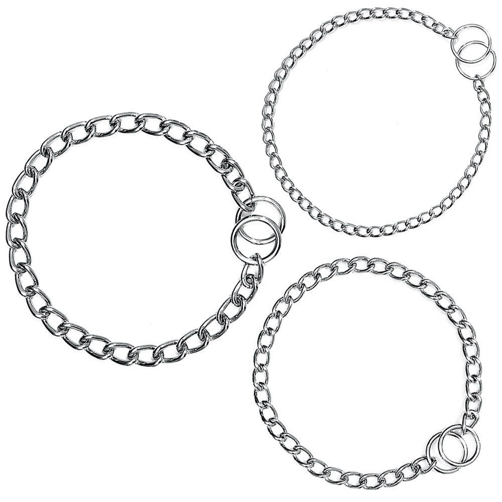 Kettenhalsband, Halskette, einfach, verchromt, 60 cm x 1,5 cm