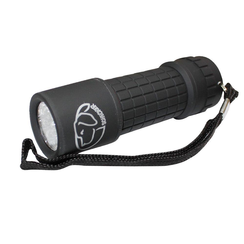 Taschenlampe, vorne weißes Licht und hinten roter Licht