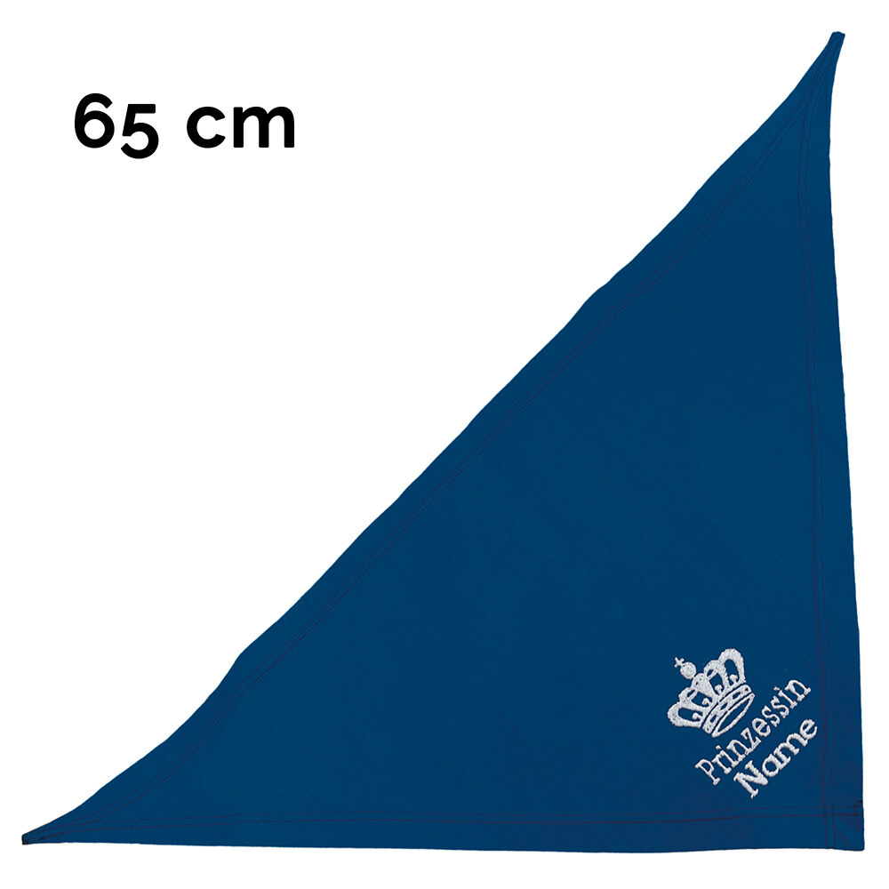 besticktes Halstuch Prinzessin + Krone + Name 65 cm, Farbe: blau