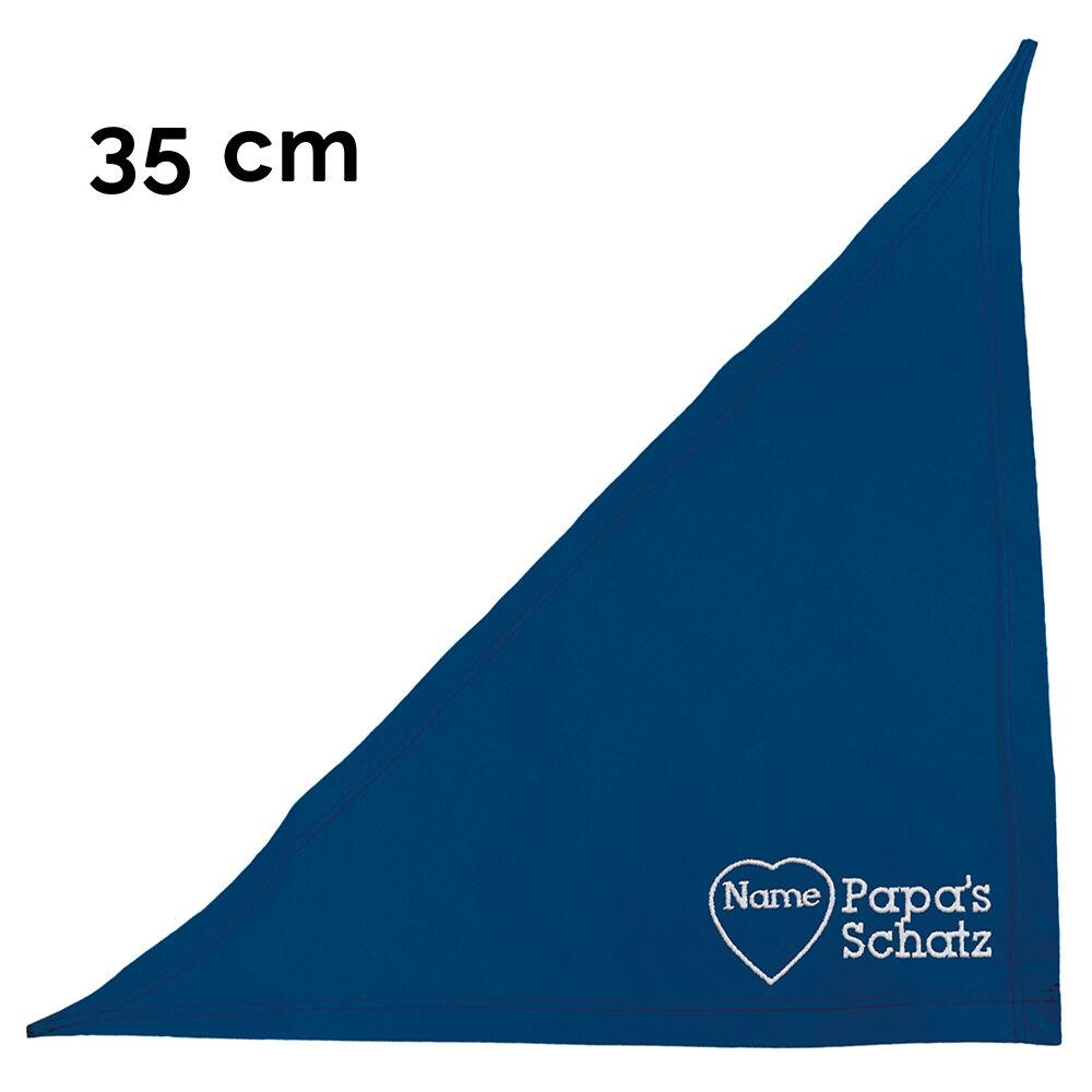 besticktes Hundehalstuch Papas Schatz + Name im Herz 35 cm, Farbe: blau