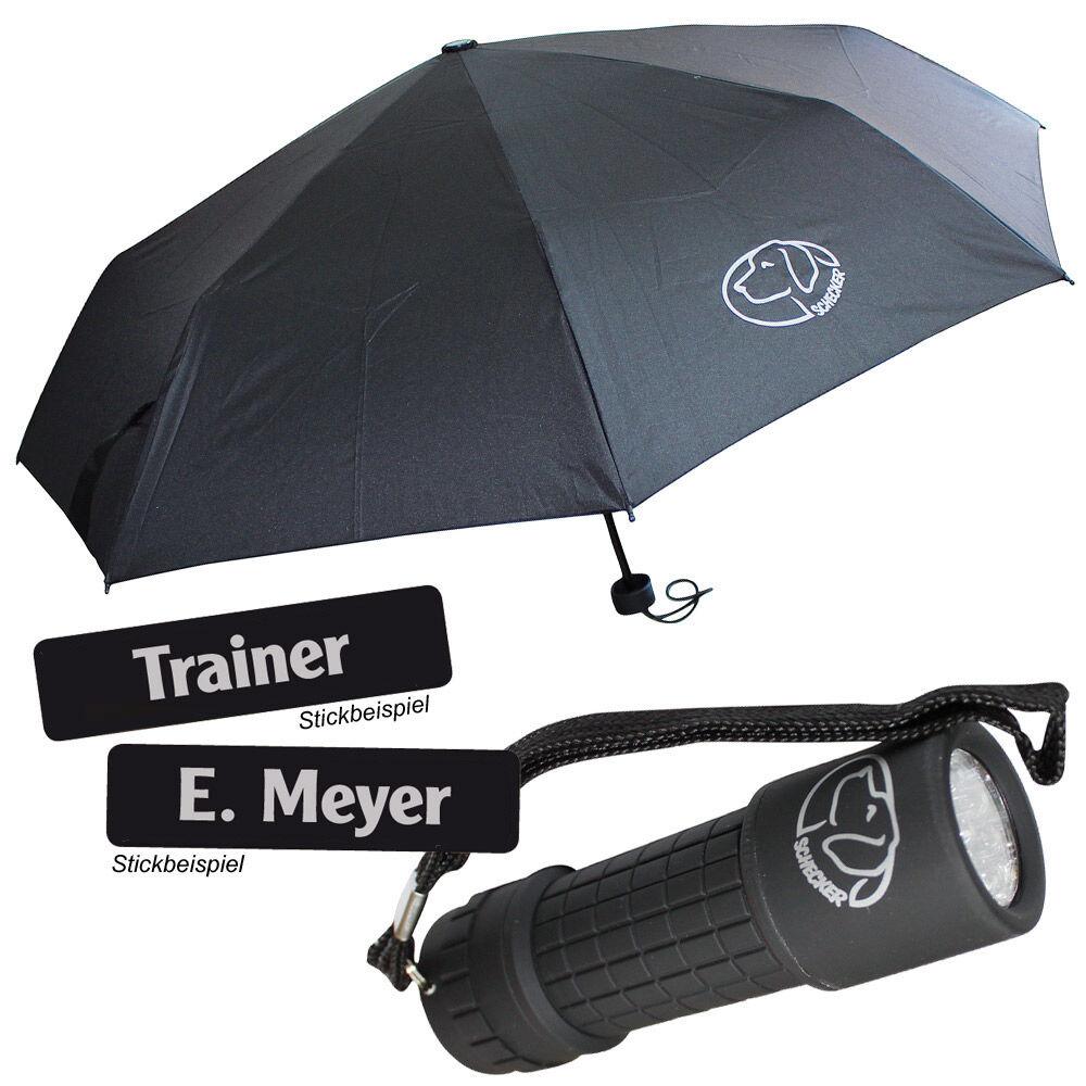 Outdoor Plus-Pack besteht aus: Regenschirm, Taschenlampe, Namensschildern