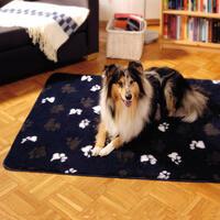 Dry-Dream-Decke, dk.-blau mit Pfotenmotiv, 75 x 100cm (Hundeliegeplatz, Hundekissen, Hundedecke)