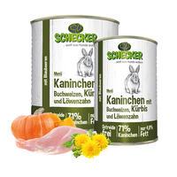 Schecker Hundemenü - Kaninchen mit Buchweizen, Kürbis und Löwenzahn