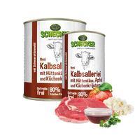 Schecker Hundemenü - Kalbsallerlei mit Hüttenkäse, Apfel und Küchenkräutern