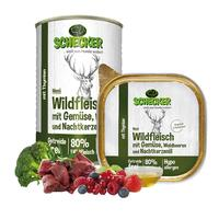 Schecker Hundemenü - Wildfleisch mit Gemüse, Waldbeeren und Nachtkerzenöl