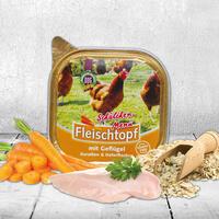 DOGREFORM Fleischtopf Schälchen-Menü mit Geflügel, Karotten und Haferflocken, Nassfutter