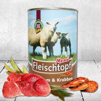 Fleischtopf-Menü, Lamm&Krabben (Küstenmenü) 6 x 410g (Hundefutter, Nassfutter, Dosenfutter)