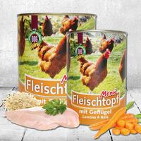 Fleischtopf-Menü Geflügel, Gemüse & Reis, 3x 410g (Hundefutter, Nassfutter, Dosenfutter)