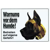 Warnung vor dem Hunde, Deutsche Dogge, gelb,groß