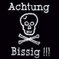 Besticktes Halstuch - Achtung Bissig! - mit Totenkopf
