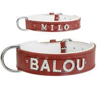 MyName Leder-Halsband, rot